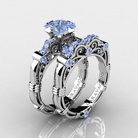 Art-Masters-Caravaggio-14K-White-Gold-1-5-Carat-Princess-Light-Blue-Sapphire-Engagement-Ring-Wedding-Band-Set-R623PS-14KWGLBS-P