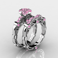 Art Masters Caravaggio 14K White Gold 1.25 Ct Princess Light Pink Sapphire Engagement Ring Wedding Band Set R623PS-14KWGLPS