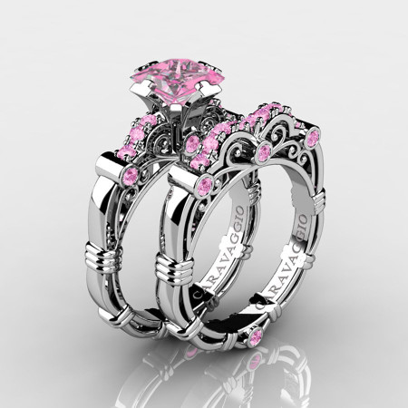 Art-Masters-Caravaggio-14K-White-Gold-1-5-Carat-Princess-Light-Pink-Sapphire-Engagement-Ring-Wedding-Band-Set-R623PS-14KWGLPS-P