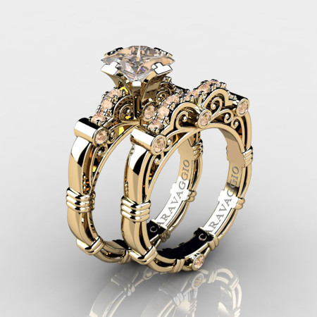 Art-Masters-Caravaggio-14K-Yellow-Gold-1-25-Carat-Princess-Champagne-Diamond-Engagement-Ring-Wedding-Band-Set-R623PS-14KYGCHD-P