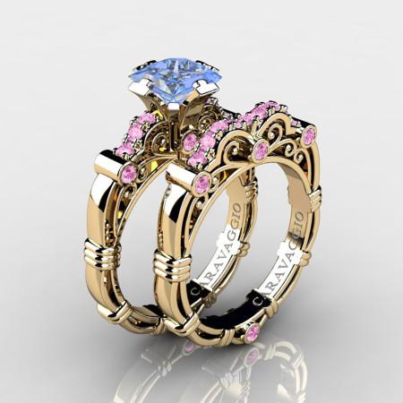 Art-Masters-Caravaggio-14K-Yellow-Gold-1-25-Carat-Princess-Light-Blue-and-Pink-Sapphire-Engagement-Ring-Wedding-Band-Set-R623PS-14KYGLPSLBS-P