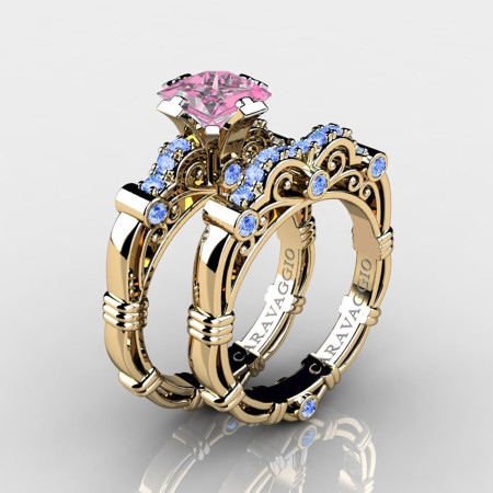 Art-Masters-Caravaggio-14K-Yellow-Gold-1-25-Carat-Princess-Light-Pink-and-Blue-Sapphire-Engagement-Ring-Wedding-Band-Set-R623PS-14KYGLBSLPS-P