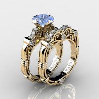 Art Masters Caravaggio 14K Yellow Gold 1.25 Ct Princess Light Blue Sapphire Diamond Engagement Ring Wedding Band Set R623PS-14KYGDLBS