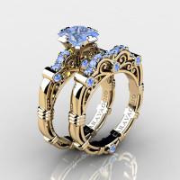 Art Masters Caravaggio 14K Yellow Gold 1.25 Ct Princess Light Blue Sapphire Engagement Ring Wedding Band Set R623PS-14KYGLBS