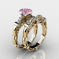 Art Masters Caravaggio 14K Yellow Gold 1.25 Ct Princess Light Pink Sapphire Diamond Engagement Ring Wedding Band Set R623PS-14KYGDLPS