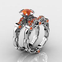 Art Masters Caravaggio 10K White Gold 1.0 Ct Orange Sapphire Engagement Ring Wedding Band Set R623S-10KWGOS