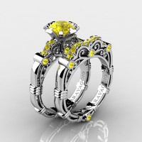 Art Masters Caravaggio 10K White Gold 1.0 Ct Yellow Sapphire Engagement Ring Wedding Band Set R623S-10KWGYS