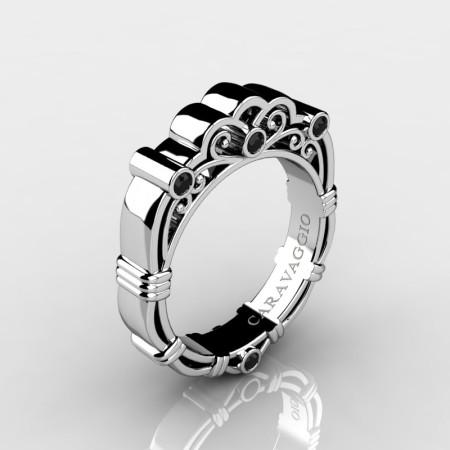 Art-Masters-Caravaggio-Mens-950-Platinum-Black-Diamond-Wedding-Band-R623M-PLATBD-P