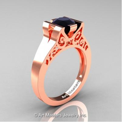 Art-Masters-14K-Rose-Gold-1-Ct-Black-Diamond-Engagement-Ring-R36N-14KRGBD-P-402×402