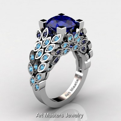 Art-Masters-Nature-Inspired-14K-White-Gold-3-Ct-Blue-Sapphire-Blue-Topaz-Engagement-Ring-Wedding-Ring-R299-14KWGBTBSS-P-402×402