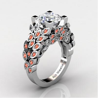 Art-Masters-Renoir-14K-White-Gold-3-Ct-White-Sapphire-Orange-Sapphire-Engagement-Ring-Wedding-Ring-R299-14KWGOSWS-P-402×402