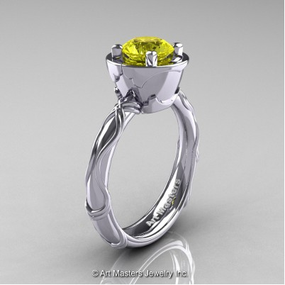 Art-Masters-Venetian-14K-White-Gold-1-0-Ct-Yellow-Sapphire-Engagement-Ring-R475-14KWGYS-P-402×402