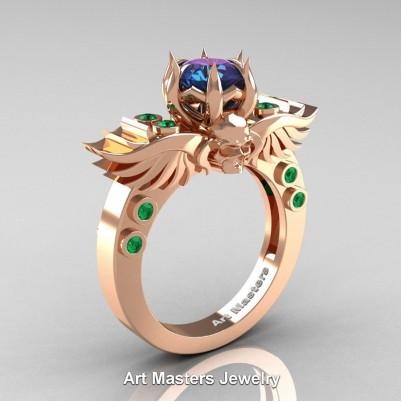 Art-Masters-Winged-Skull-14K-Rose-Gold-1-Carat-Alexandrite-Emerald-Engagement-Ring-R613-14KRGEMAL-P-402×402