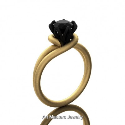 Classic-14K-Two-Tone-Yellow-Gold-1-CT-Black-Diamond-Solitaire-Engagement-Ring-R559-14KYBGSBD-P1-402×402