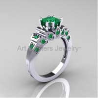 Classic French 10K White Gold 1.23 CT Princess Emerald Engagement Ring R216P-10KWGEM