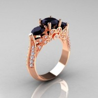 Classic 10K Rose Gold Three Stone Black and White Diamond Solitaire Ring R200-10KRGDBD