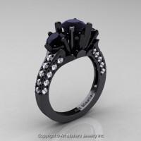 French 14K Black Gold Three Stone 2.0 Ct Black and White Diamond Solitaire Wedding Ring R421-14KBGDBD