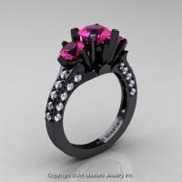 French 14K Black Gold Three Stone 2.0 Ct Pink Sapphire Diamond Solitaire Wedding Ring R421-14KBGDPS