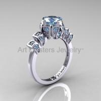 Edwardian 14K White Gold 1.0 CT Aquamarine Ballerina Engagement Ring R241-14KWGAQ