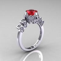 Edwardian 14K White Gold 1.0 CT Rubies Diamond Ballerina Engagement Ring R241-14KWGDR