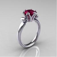 Antique 10K White Gold 1.5 Carat Garnet Engagement Ring AR127-10KWGG