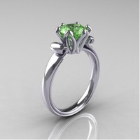 Antique 10K White Gold 1.5 Carat Peridot Engagement Ring AR127-10KWGP
