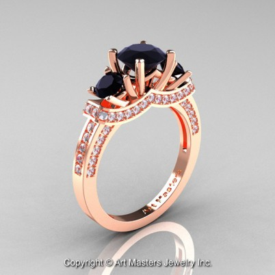 French-14K-Rose-Gold-Three-Stone-Black-and-White-Engagement-Ring-R182-14KRGDBD-P-402×402