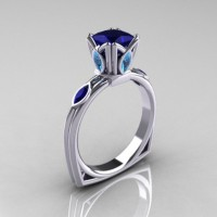 Modern Antique 10K White Gold 1.20 CT Princess Blue Sapphire Marquise Blue Topaz Solitaire Ring R219-10KWGBTBS