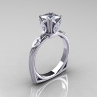 Modern Antique 10K White Gold 1.20 CT Princess Marquise Cubic Zirconia Solitaire Ring R219-10KWGCZ