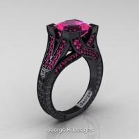 Modern Vintage 14K Black Gold 3.0 Ct Princess Pink Sapphire Engraved Engagement Ring R367P-14KBGPS