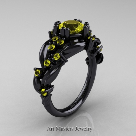 Nature-Classic-14K-Black-Gold-1-0-Ct-Yellow-Sapphire-Leaf-and-Vine-Engagement-Ring-R340-14KBGYS-P-700×700