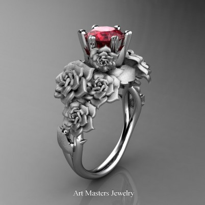 Nature-Inspired-14K-White-Gold-1-0-Ct-Ruby-Rose-Bouquet-Leaf-and-Vine-Engagement-Ring-R427-14KWGSR-P-402×402