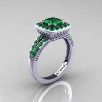 Renaissance Classic 10K White Gold 1.23 Carat Princess Emerald Engagement Ring R220P-10KWGEM