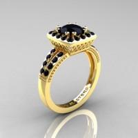 Renaissance Classic 10K Yellow Gold 1.23 Carat Princess Black Diamond Engagement Ring R220P-10KYGBD