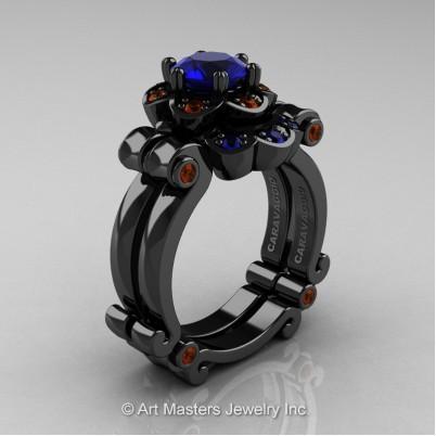 Art-Masters-Caravaggio-14K-Black-Gold-1-Ct-Blue-Sapphire-Brown-Diamond-Engagement-Ring-Wedding-Band-Set-R606S-14KBGBRDBS-P-402×402