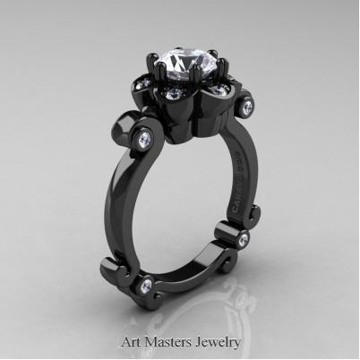Art-Masters-Caravaggio-14K-Black-Gold-1-Ct-White-Sapphire-Engagement-Ring-R606-14KBGWS-P-402×402