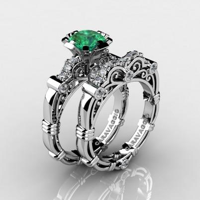 Art-Masters-Caravagio-14K-White-Gold-1-Carat-Emerald-Diamond-Engagement-Ring-Wedding-Band-Set-R623S-14KWGDEM-P-402×402