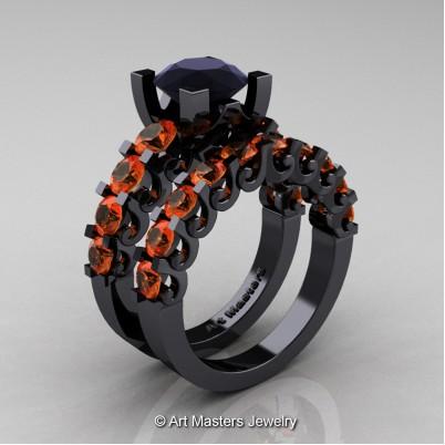 Art-Masters-Modern-Vintage-14K-Black-Gold-3-Ct-Black-Diamond-Orange-Sapphire-Wedding-Ring-Set-R142S-14KBGOSBD-P-402×402