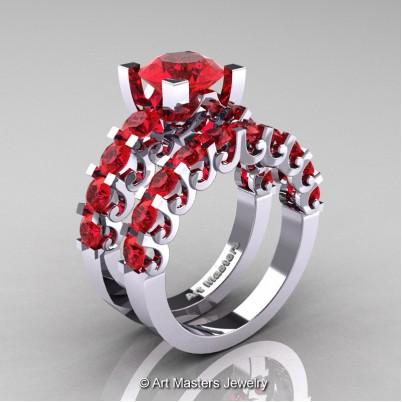 Art-Masters-Modern-Vintage-14K-White-Gold-3-Ct-Ruby-Wedding-Ring-Set-R142S-14KWGR-P-402×402