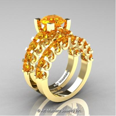 Art-Masters-Modern-Vintage-14K-Yellow-Gold-3-Ct-Citrine-Wedding-Ring-Set-R142S-14KYGCI-P-402×402