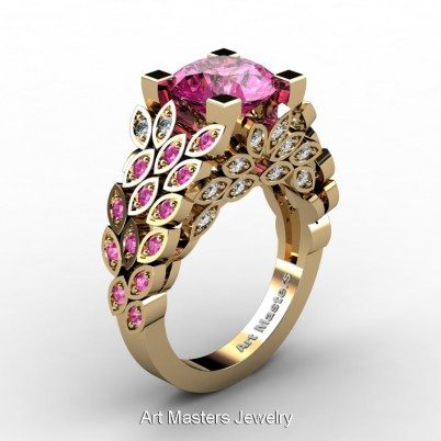 Art-Masters-Nature-Inspired-14K-Yellow-Gold-3-Ct-Pink-Sapphire-Diamond-Engagement-Ring-Wedding-Ring-R299-14KYGDPS-P-402×402