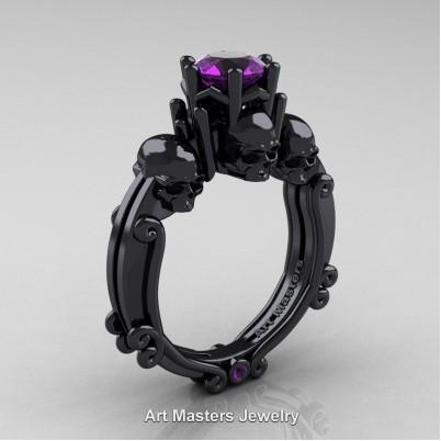 Art-Masters-Trinity-Skull-14K-Black-Gold-1-Carat-Amethyst-Engagement-Ring-R513-14KBGAM-P-402×402