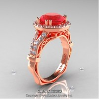 Caravaggio Italian 14K Rose Gold 3.0 Ct Ruby Diamond Engagement Ring Wedding Ring R620-14KRGDR