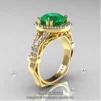 Caravaggio Italian 14K Yellow Gold 3.0 Ct Emerald Diamond Engagement Ring Wedding Ring R620-14KYGDEM