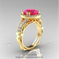 Caravaggio Italian 14K Yellow Gold 3.0 Ct Pink Sapphire Diamond Engagement Ring Wedding Ring R620-14KYGDPS