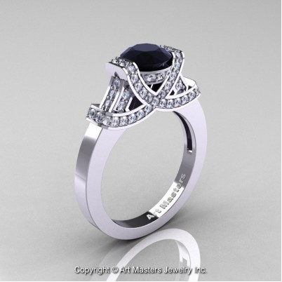 Classc-Armenian-14K-White-Gold-1-0-Ct-Black-and-White–Diamond-Engagement-Ring-Wedding-Ring-R283-14KWGDBD-P-402×402