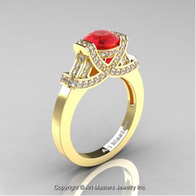Classc-Armenian-14K-Yellow-Gold-1-0-Ct-Ruby-Diamond-Engagement-Ring-Wedding-Ring-R283-14KYGDR-P-402×402
