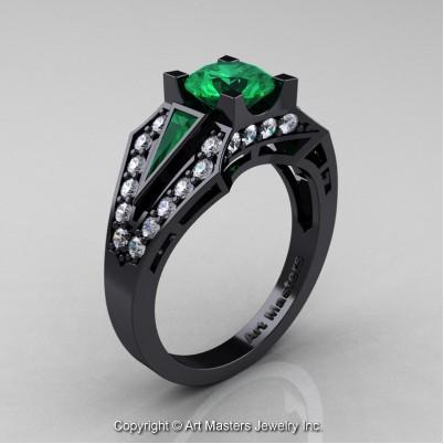 Classic-Edwardian-14K-Black-Gold-1-0-Ct-Emerald-Diamond-Engagement-Ring-R285-14KBGDEM-P-402×402