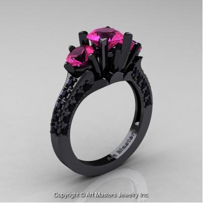 Classic-French-14K-Black-Gold-Three-Stone-2-Ct-Pink-Sapphire-Black-Diamond-Solitaire-Wedding-Ring-R421-14KBGBDPS-P-402×402