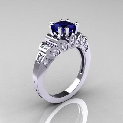 Classic-French-White-Gold-1-CT-Princess-Blue-Sapphire-Diamond-Engagement-Ring-R216P-WGDBS-P-402×402